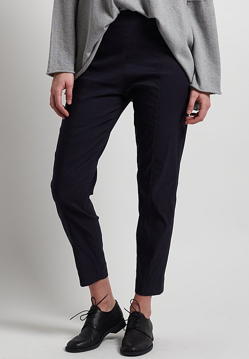 Peter O. Mahler Fitted Stretch Linen Cropped Seam Pants in Navy