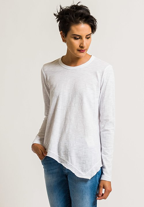Wilt Crew Neck Slant Hem Tee in White