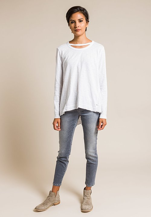 Wilt Raw Edge Double Collar Long Sleeve Tee in White