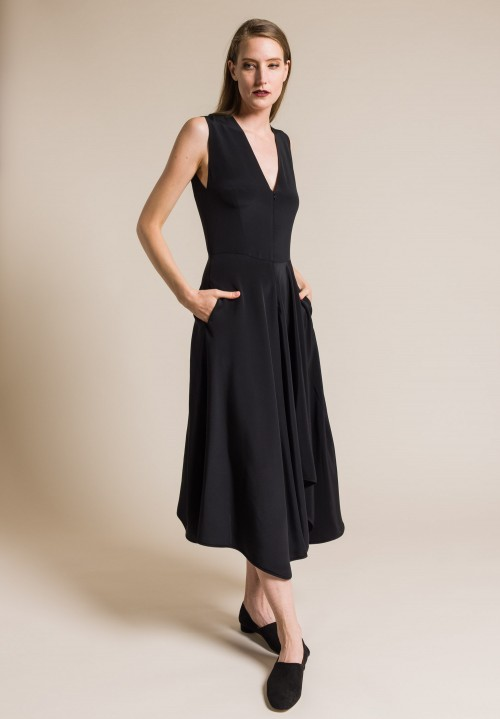 Zero + Maria Cornejo Silk Wave Dress in Black
