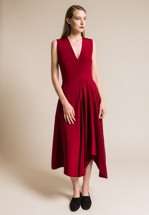 Zero + Maria Cornejo Silk Wave Dress in Crimson