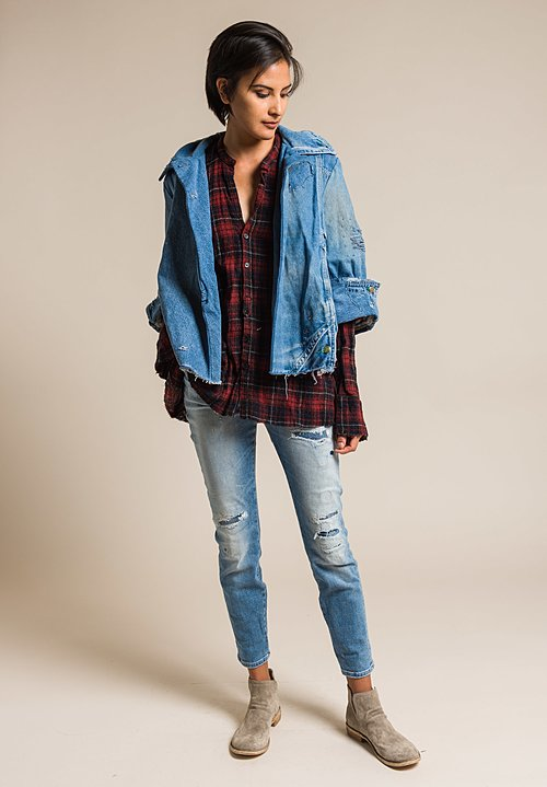 Greg Lauren Vintage Denim Christian Jacket in Denim Blue