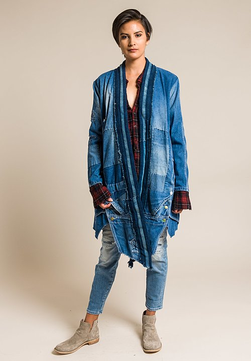 Greg Lauren Long Vintage Denim/Indigo Stripe Jacket in Denim Blue