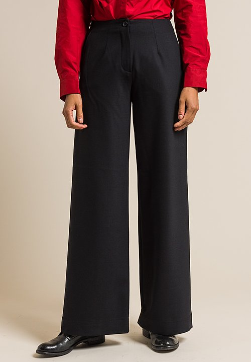 Peter O. Mahler Wool Wide Leg Pants in Black