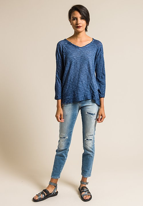 Gilda Midani Solid Dyed V-Neck Long Sleeve Tee in Deep Blue