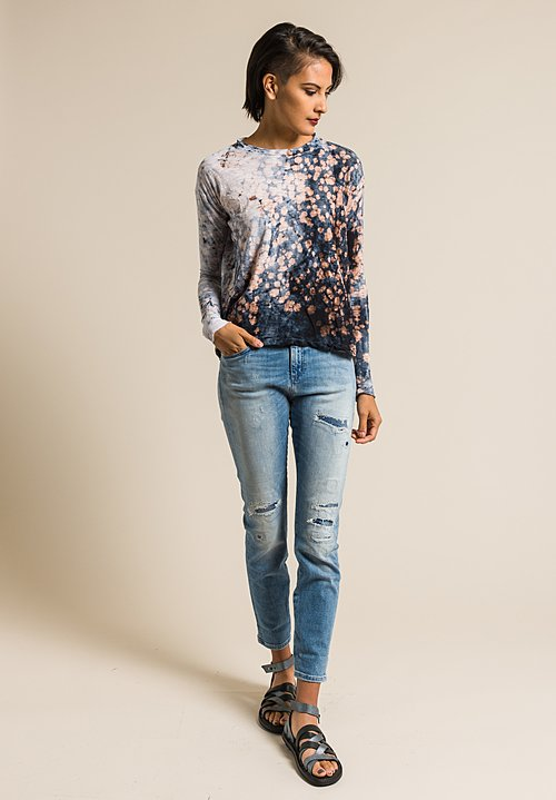 Gilda Midani Pattern Dyed Long Sleeve Straight Trapeze Tee in Deep Sea