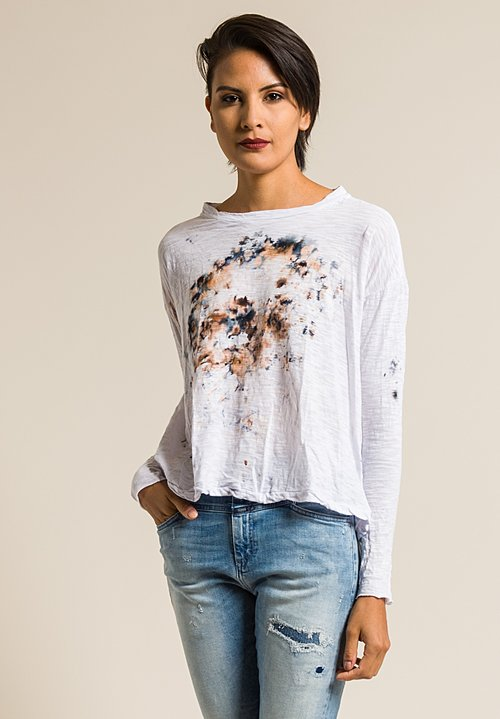 Gilda Midani Pattern Dyed Long Sleeve Straight Trapeze Tee in Sea