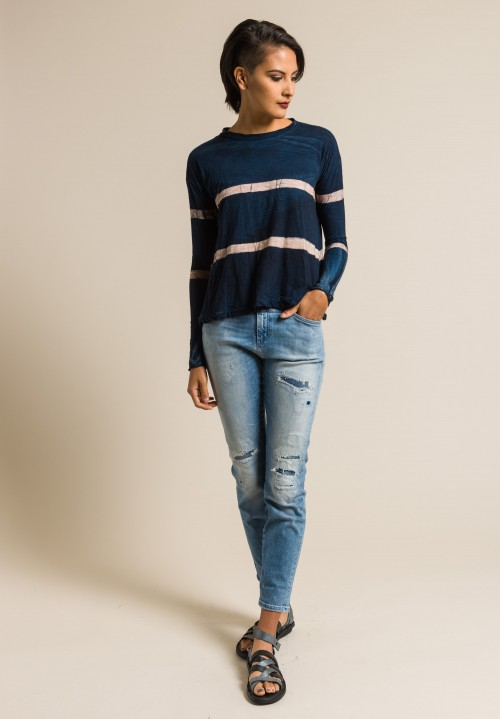 Gilda Midani Pattern Dyed Long Sleeve Straight Trapeze Tee in Cream & Deep Blue Stripes