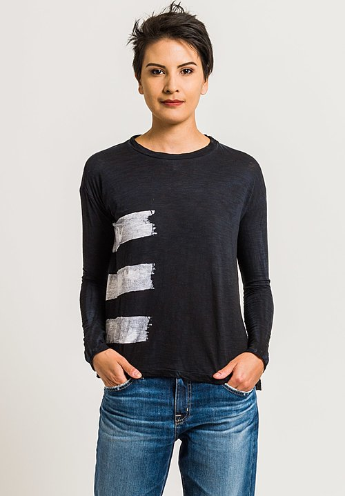 Gilda Midani Straight Trapeze Tee in Brush White & Black