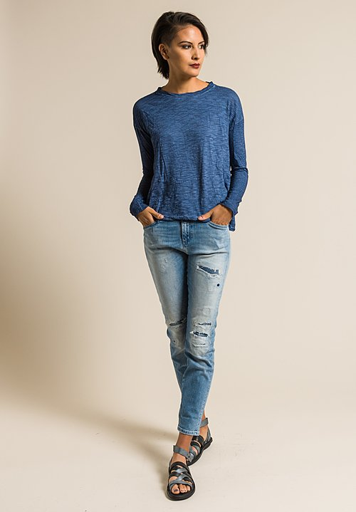 Gilda Midani Solid Dyed Long Sleeve Straight Trapeze Tee in Dark Deep Blue