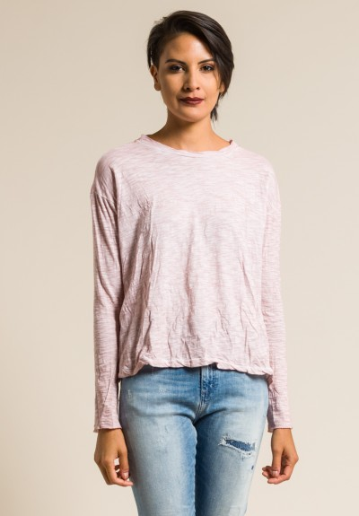 Gilda Midani Solid Dyed Long Sleeve Straight Trapeze Tee in Pale Pink