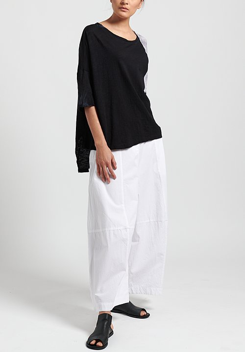 Gilda Midani Pattern Dyed Short Sleeve Super Tee in White & Black Brush