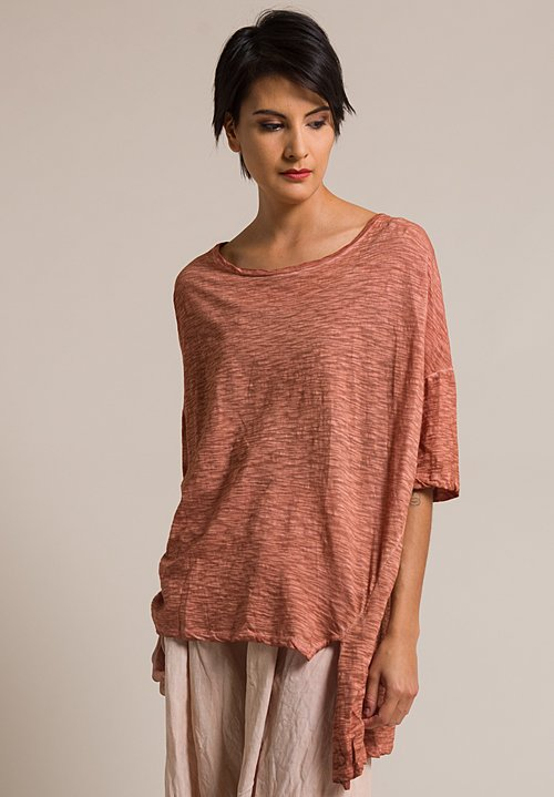 Gilda Midani Short Sleeve Cotton Super Tee in Cognac Orange