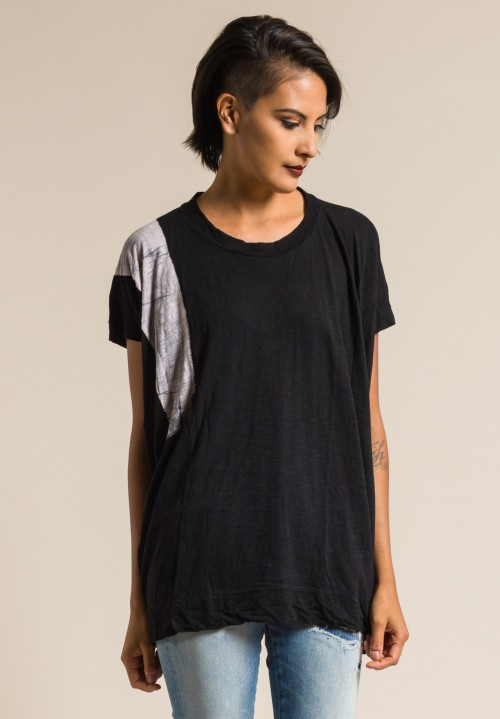 Gilda Midani Pattern Dyed Square Tee in White & Black Brush