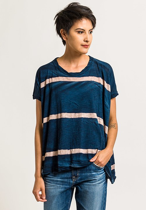 Gilda Midani Square Tee in Cream & Deep Blue Stripes