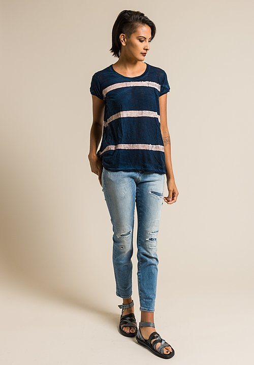 Gilda Midani Pattern Dyed Short Sleeve Monoprix Tee in Cream & Deep Blue Stripes