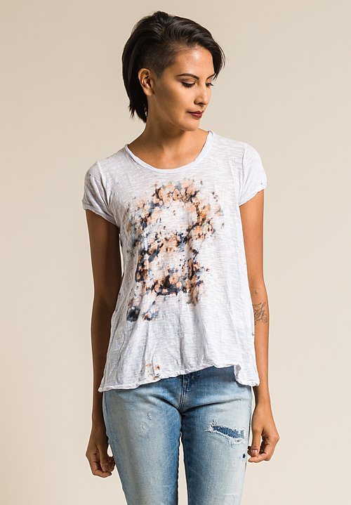 Gilda Midani Pattern Dyed Short Sleeve Monoprix Tee in Sea