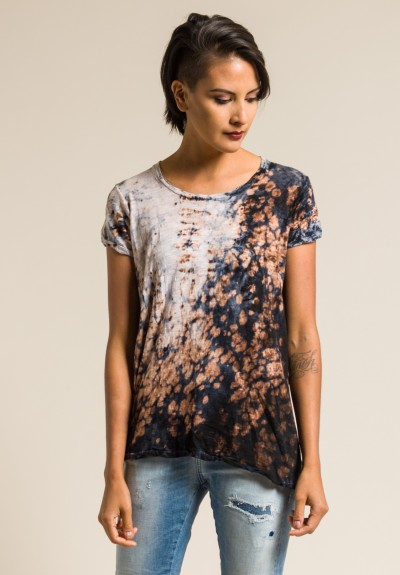 Gilda Midani Pattern Dyed Short Sleeve Monoprix Tee in Deep Sea