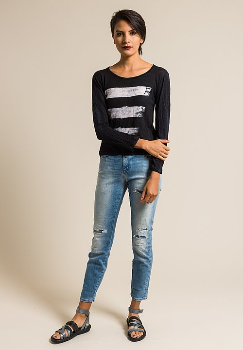 Gilda Midani Pattern Dyed New Round Long Sleeve Tee in Brush White & Black