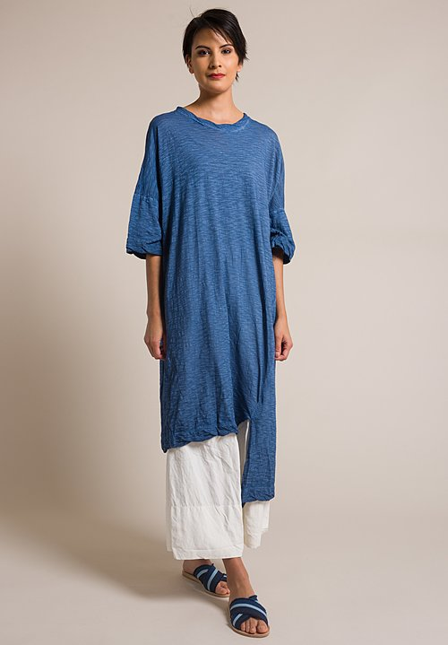 Gilda Midani Solid Dyed Long Cotton Super Dress in Deep Blue