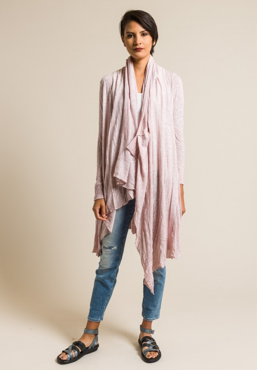 Gilda Midani Solid Dyed Long Karan Cardigan in Pale Pink