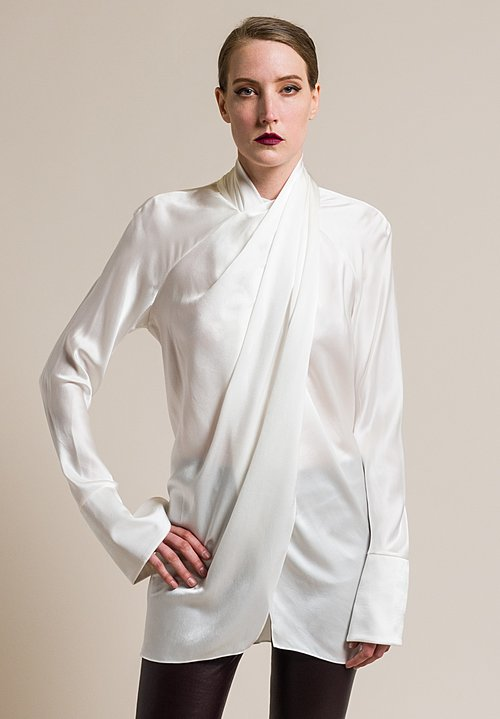 Urban Zen Silk Crossover Neck Blouse in Ivory