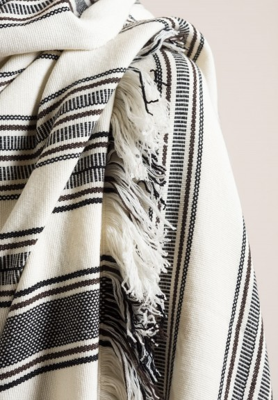 Denis Colomb Cashmere Himalaya Tibet Blanket White/Seal Brown/Black
