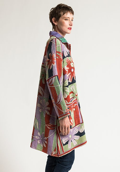 Mieko Mintz A-Line Duster Jacket in Lime/Lavender