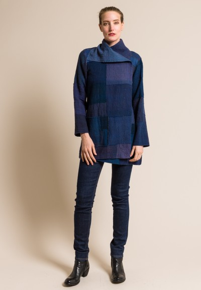Mieko Mintz 4-Layer Frayed Patch Pocket Jacket in Indigo