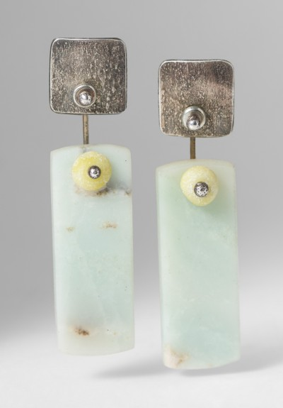 Holly Masterson Hemimorphite Rectangle & Jade Earrings