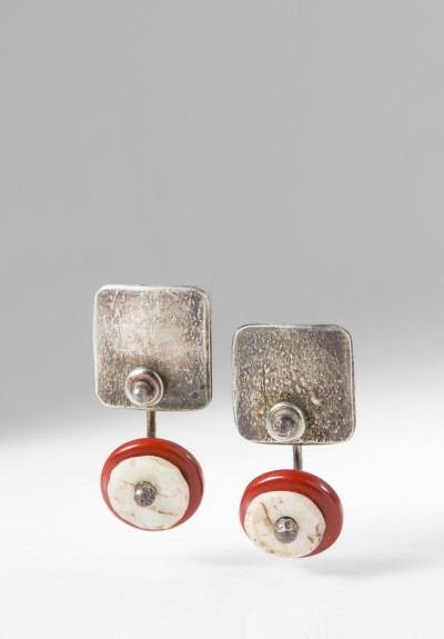 Holly Masterson Small Red Jasper & Shell Disk Earrings