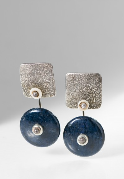 Holly Masterson Lapis Lazuli & Shell Disk Earrings