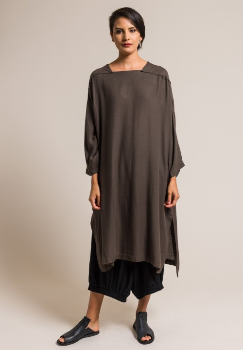 Black Crane Lightweight Dome Dress in Charcoal