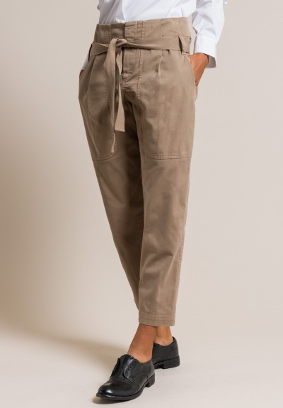Brunello Cucinelli Stretch Cotton Utility Trousers in Taupe