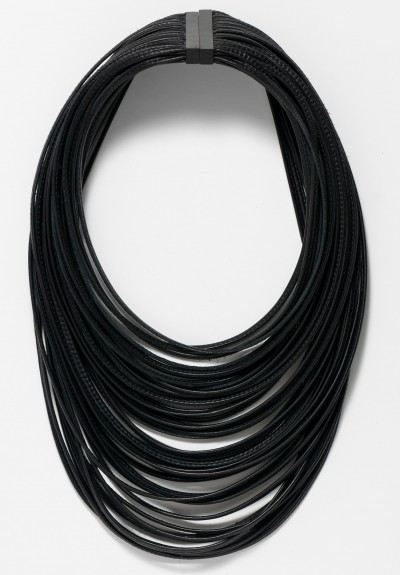 Monies Large Ebony and Leather Multi-Strand Necklace