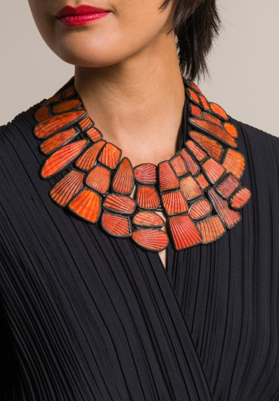 Monies Orange Shell & Oxidized Copper Necklace