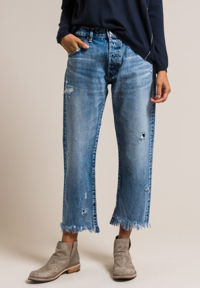 Moussy MV Atoka Cropped Straight Leg Jeans in Blue