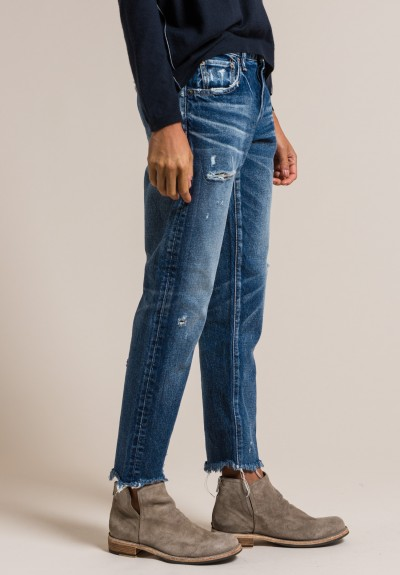 Moussy MV Kelley Tapered Leg Jeans in Dark Blue