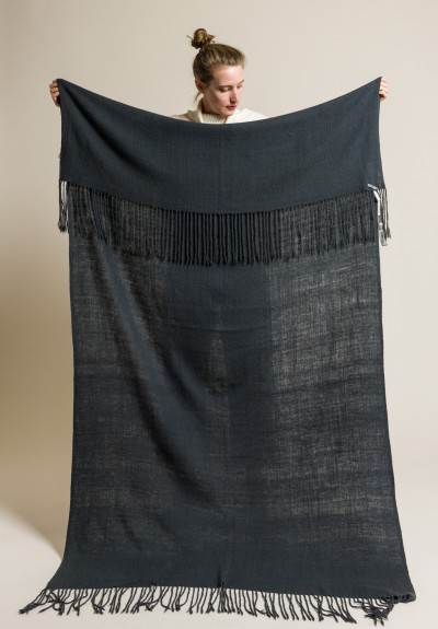 Denis Colomb Handwoven/Hand-Spun Cashmere Oslo Blanket in Moonless