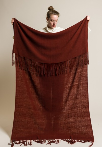 Denis Colomb Handwoven/Hand-Spun Cashmere Oslo Blanket in Rust