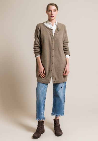 kaval Cashmere/Sabel Long Knit Cardigan in Beige