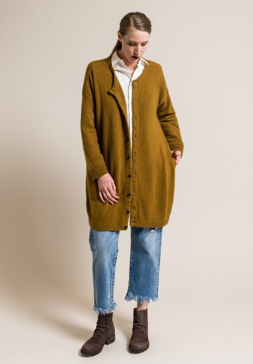 kaval Cashmere/Sabel Long Knit Cardigan in Mustard