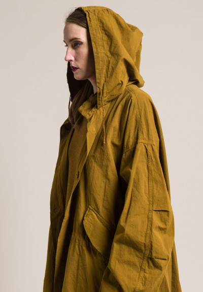 kaval Washed Heavy Cotton Hooded Overcoat in Mustard