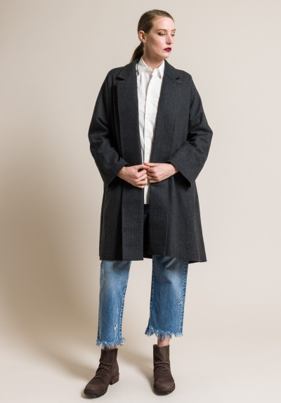 kaval Tumbled Fine Twill Cashmere A-Line Overcoat in Charcoal
