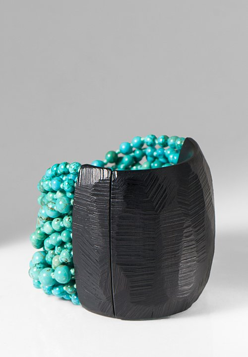 Monies UNIQUE Turquoise & Scratch Ebony Bracelet