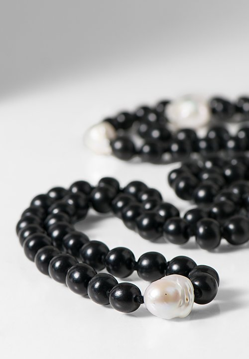 Monies UNIQUE Ebony Beads & Pearl Necklace