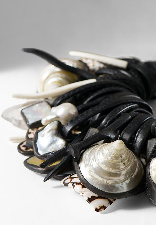 Monies UNIQUE Pearls, Shell, Bone, Ebony, & Mountain Crystal Necklace