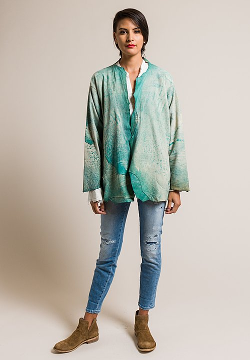 Susan Riedweg Lamb Leather Short Ragged Edge Jacket in Clouded Sky