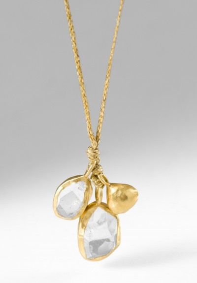 Pippa Small 18K, Gold Drop & Double Colette Herkimer Pendant