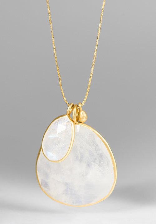 Pippa Small 18K, Gold Drop & Double Rainbow Moonstone Pendant